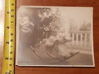 RARE OLD VINTAGE PHOTO BABY ON A ROCKING HORSE TOY