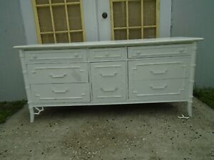 Fretwork Dresser 9 drawers Faux Bamboo Thomasville Allegro Regency Chippendale