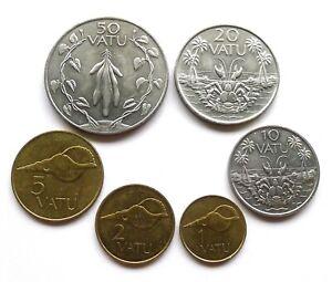 VANUATU 6 COIN SET: 1, 2, 5, 10 + 20 (FAO) VATU 1990, 50 VATU 1999, ALL LUSTROUS