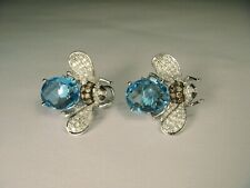 3Ct Oval Brilliant Cut Aquamarine Bumble Bee Stud Earrings 14K White Gold Finish