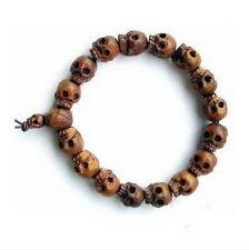 New Cool Mens Gothic Tibetan Wood Skull Beaded Bracelet Fahsion Jewelry UNISEX