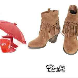 Sbicca Boho Fringed Western Tan Suede Booties sz 8