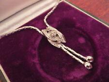 Elegantes 835 Silber Collier Kette Jugendstil Art Deco Vintage Zirkonia Pampel