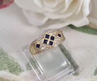 Vintage Jewellery Gold Ring Blue White Sapphires Antique Deco Jewelry large 10 U