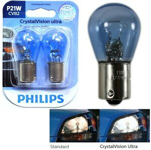 Philips Crystal Vision Ultra Light P21W 21W Two Bulbs Rear Turn Signal Stock OE