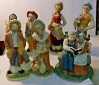 Lot of 7 pieces of Vintage Porcelain FIGURINES Old Men & Women Farmers