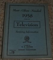MOST-OFTEN-NEEDED 1958 TELEVISION SERVICING INFORMATION VOLUME TV-13