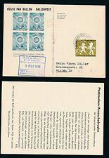 62089) Ballonpost FDA Dolder Schlieren - Oberstaufen 3.5.58, Kte gelber Karton