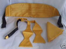 YELLOW Polyester Self-tie Bow tie + Cummerbund & Hanky Set+Instructi>P&P 2UK>1st