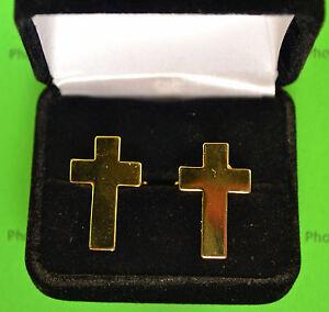 Chaplain's Christian Cross Cuff Links Cufflinks Presentation Gift Box  gold