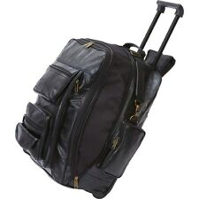 Black Leather Rolling Carry-On Backpack,Overnight Trolley Mens Tote Suitcase Bag