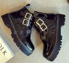 Hot Womens buckle Roma platform creepers Motorcycle pull on ankle boots shoes