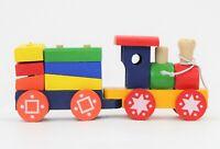 Wooden Train Set - Colourful Puzzle Blocks Kids Classic Activity Toy 18 Months+