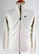 MONARCHY LOS ANGELES ZIP EMBROIDERED SEQUINS WHITE ON WHITE FRONT JACKET SZ L