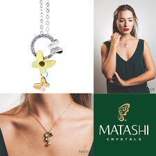 """Matashi 16"""" Rhodium Plated Necklace w/ Yellow Butterfly & Clear Crystals Gift"""