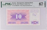 Bosnia 10 Dinara 1992 P 10 a Superb Gem UNC PMG 67 EPQ