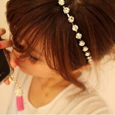 Women Boho Jewelry Crystal Rhinestone Bling Head Chain Headband Hair Band Gift