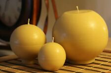 Handmade 100% Pure Beeswax Ball Round Shape Candles 100% Cotton Wick US made