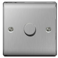 BG Nexus Brushed Stainless Steel Dimmer Switch 2way 400watts Push on/off
