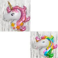 2pcs Magical Unicorn Head Birthday Party Tableware Decor Balloons Supplies Gifts