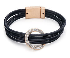 Modern Multi Cord Black Leather Gold Circle Charm Diamante Lagenlook Bracelet
