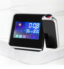 LED Laser Beam Projection Table Clock Alarm Snooze Light Temperature Humidity