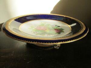 Copeland England Pedestal Compote Centerpiece Bowl Roses Cobalt Blue Gold