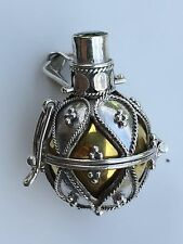 925 Sterling Silver Balinese Harmony Dream Ball Chime Pendant with Peridot 18mm