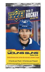 2020-21 Upper Deck Series 2 NHL Hockey Trading Card Pack Young Guns New Sealed