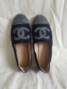 Chanel Espadrilles Wool&leather Insole Size Uk 6 Eu 39