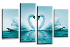 Love Swans Canvas Wall Art Picture Teal Cream Kissing Heart Split Panel New
