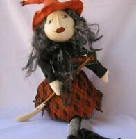 """27"""" Handcrafted Fabric Halloween Witch with hat Broomstick Shelf Sitter"""