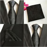 Men Plain Black Paisley Floral Neckties Pocket Square Handkerchief Set Lot HZ062