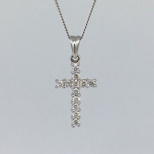 18ct White Gold Diamond Cross 0.50ct UK Hallmarked 3.5g 18Inch RRP: £1250