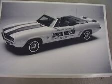 1969 CHEVROLET CAMARO CONV.   INDY PACE CAR 12 X 18  LARGE PICTURE   PHOTO