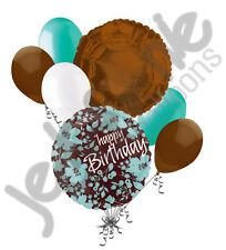 7 pc Teal & Brown Decorative Flower Happy Birthday Balloon Bouquet Decoration