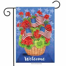 "Patriotic Basket Summer Garden Flag Welcome Floral 12.5"" x 18"" Briarwood Lane"