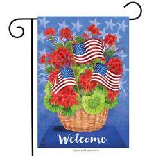 """Patriotic Basket Summer Garden Flag Welcome Floral 12.5"""" x 18"""" Briarwood Lane"""