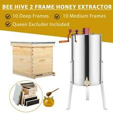 Complete Bee Hive 10-Frame 1 Medium Box 1 Deep Box and 2 Frame Honey Extractor