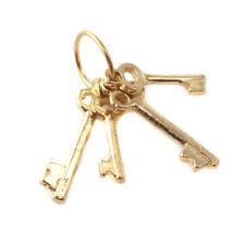 1/12TH DOLLS HOUSE MINIATURE 4 BRASS KEYS ON A RING