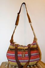 Recycled Handmade Raw Leather wt cotton mix Multi-color shoulder Bag