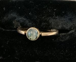 Vintage 1940s 9ct Gold Moss Agate Ring Size L Hallmarked Edinburgh 1941