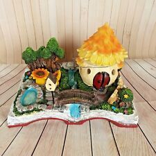Solar Fairy House Enchanted Garden Knome Lost Open Book Yellow Flower House 5""