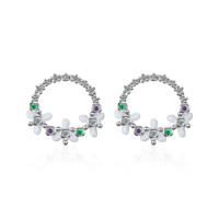 Ladies Elegant 925 Sterling Silver Zircon Vintage Flower Round Stud Earrings