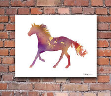 Running Horse Abstract Watercolor Painting 11 x 14 Art Print by Artist DJR
