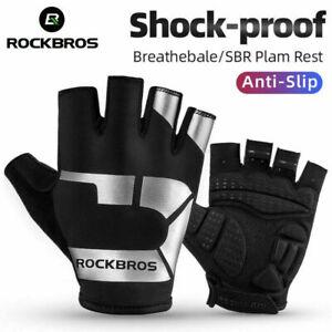 ROCKBROS Cycling Half Finger Gloves Sport SBR Anti-slip Reflective Gloves-Leike
