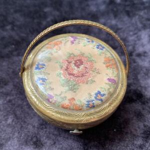 """Rare Vintage Kigu """"Bouquet"""" Basket Powder Compact"""