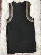 New ALLSAINTS Siri Vest DRESS HAND EMBELLISHED Sz 4 Gray Top Charcoal Sleeveless