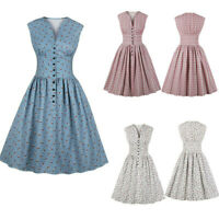 Vintage Evening Gown Dress Cute Kitten Print Sleeveless Womens Swing Party Dress