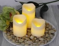 LED Kerzen Kunststoff weiß 3 Stück flackernde LEDs 6/18h Timer